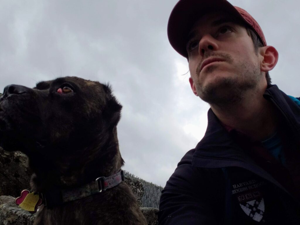 Tristan Helms with dog